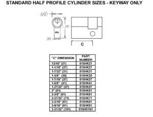 Size Chart - Half Cylinders (Keyed)