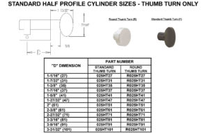 Size Chart - Half Cylinders (Thumb Turn)