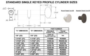 Size Chart - Single Keyed Cylinders (Standard)