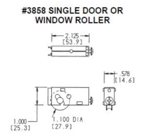 #3858 Single Door or Window Roller Dimensions
