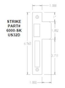 #6100-SK-SS Entrance Mortise Mechanism Strike - Dimensions