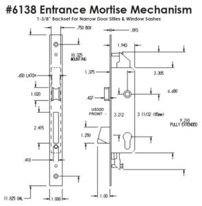 #6138 Entrance Mortise Mechanism - Dimensions