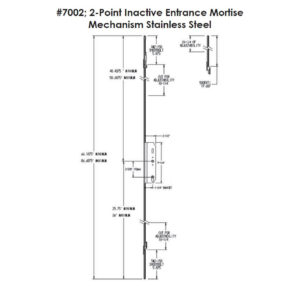 #7002 2-Point Inactive Entrance Mortise Mechanism Dimensions