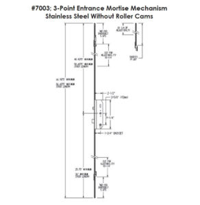 #7003 3-Point Entrance Mortise Mechanism Dimensions