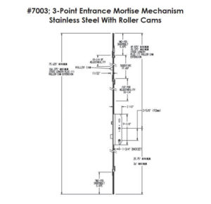 #7003 3-Point Entrance Mortise Mechanism w/Roller Cams Dimensions