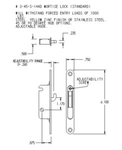 #3-45-S-14AD Mortise Mechanism Dimensions