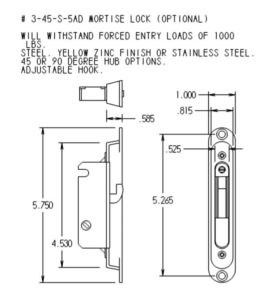 #3-45-S-5AD Mortise Mechanism Dimensions