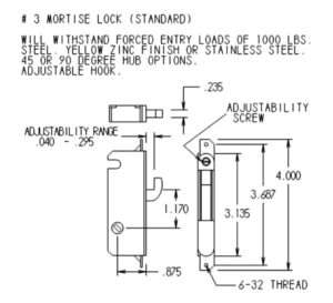 #3 Mortise Mechanism Dimensions