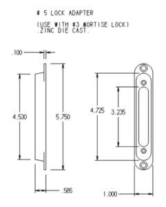 #5 Lock Adapter Dimensions