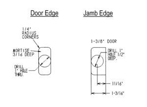 """Tubular Latch Milling Details (1-3/8"""" Door)"""
