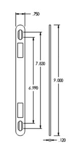 "D70-SK Flat Strike Drawing - 7/8"" Backset"