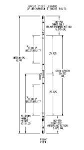 #6800 Casement Window Multipoint Mechanism Dimensions - Shoot Bolts (Stock Height)