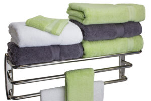Hotel Towel Rack (with Towels) - Polished Stainless