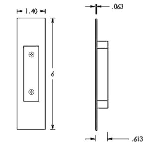 #106-FP-WCMS Flush Pull Dimensions